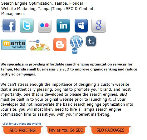 Search Engine optimization and website design Tampa